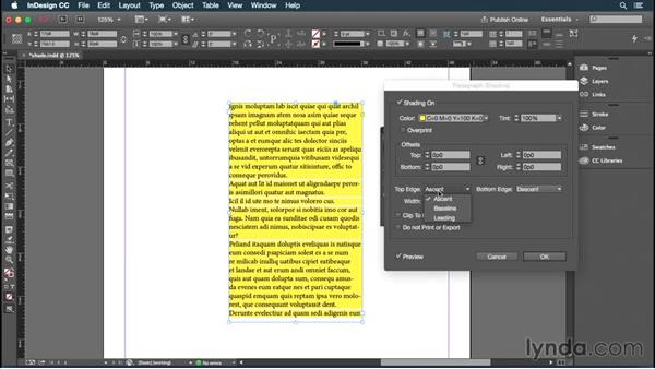 Working with paragraph shading: InDesign: 2015 Creative Cloud Updates