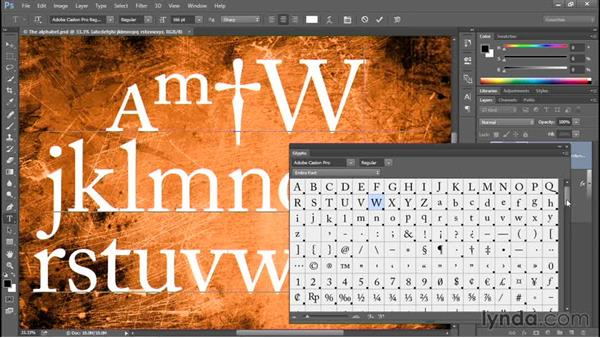 The new, eagerly awaited Glyphs panel: Photoshop: 2015 Creative Cloud Updates