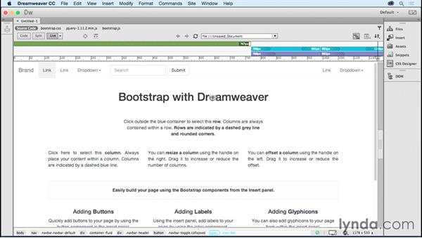 Incorporating Bootstrap: Dreamweaver: 2015 Creative Cloud Updates
