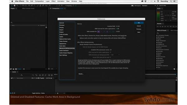 Deleted and disabled features: After Effects: 2015 Creative Cloud Updates