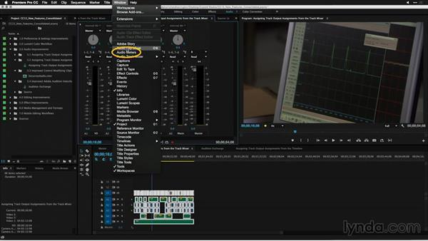 Assigning track output assignments from the Track Mixer: Premiere Pro: 2015 Creative Cloud Updates