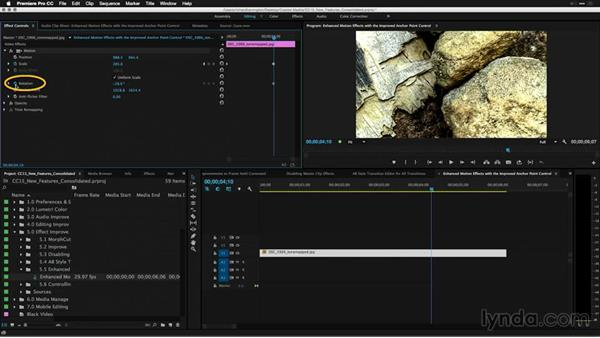 Enhanced motion effects with the improved anchor point controls: Premiere Pro: 2015 Creative Cloud Updates