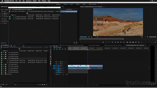 Creating subsequences from a sequence: Premiere Pro: 2015 Creative Cloud Updates