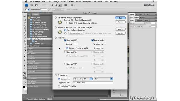 Simplifying repetitive steps using the Image Processor: Photoshop CS4 for Photographers
