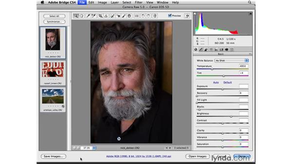 Opening files in Camera Raw: Photoshop CS4 for Photographers