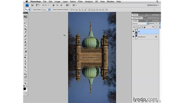 Creating a reflection of an image: Photoshop CS4 for Photographers