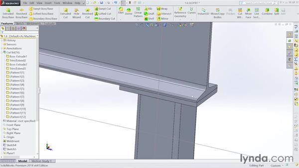 Patterning and mirroring structural members: Steel Building Design with SOLIDWORKS Weldments