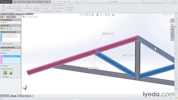Adjusting the corners: Steel Building Design with SOLIDWORKS Weldments