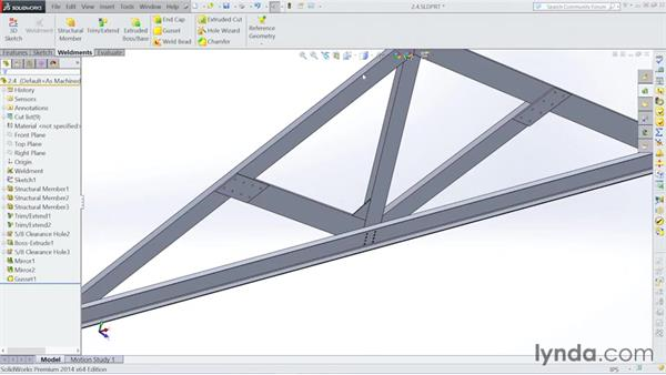 Adding in gussets: Steel Building Design with SOLIDWORKS Weldments