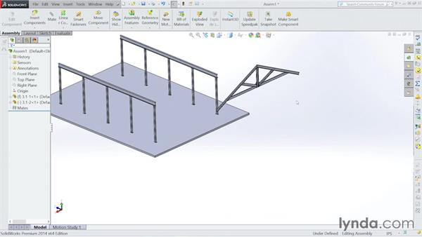 Assembling the roof: Steel Building Design with SOLIDWORKS Weldments