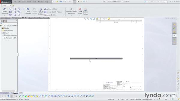 Part detail drawing: Steel Building Design with SOLIDWORKS Weldments