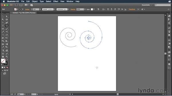 Drawing spirals: Illustrator CC Essential Training (2015)