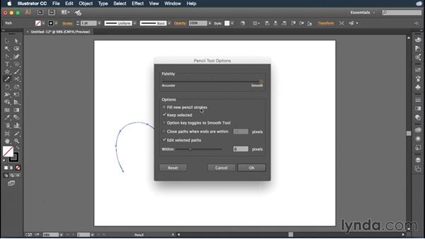Using the Pencil tool for freehand drawing: Illustrator CC Essential Training (2015)