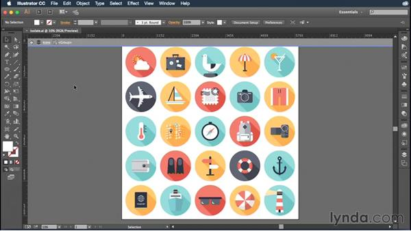 Using isolation mode to edit grouped artwork: Illustrator CC Essential Training (2015)
