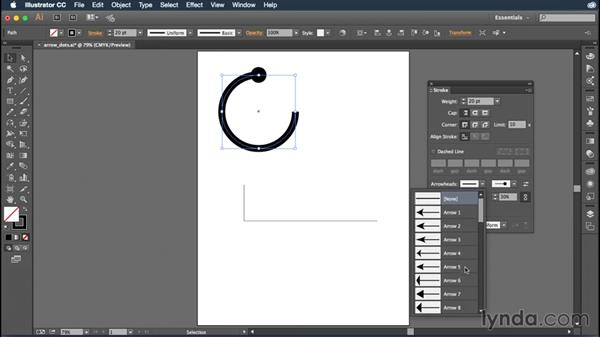 Adding endpoints and dashed lines to your strokes: Illustrator CC Essential Training (2015)