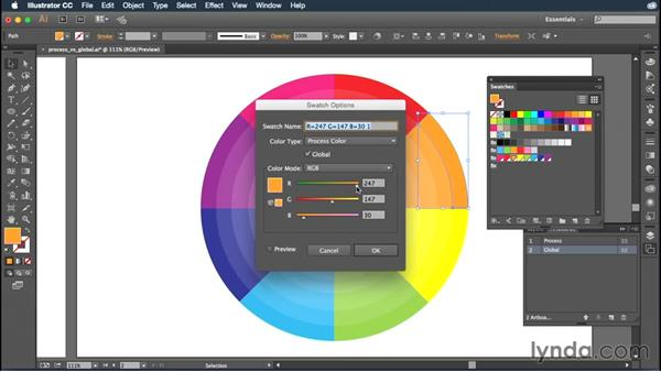 Understanding process vs. global swatches: Illustrator CC Essential Training (2015)