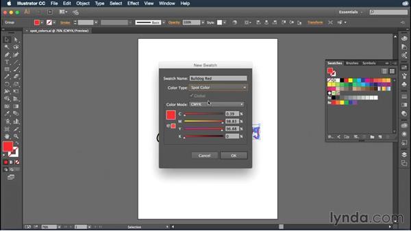 Creating and using spot colors: Illustrator CC Essential Training (2015)