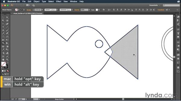 Creating artwork with the Shape Builder tool: Illustrator CC Essential Training (2015)