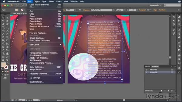 Flowing text around objects: Illustrator CC Essential Training (2015)