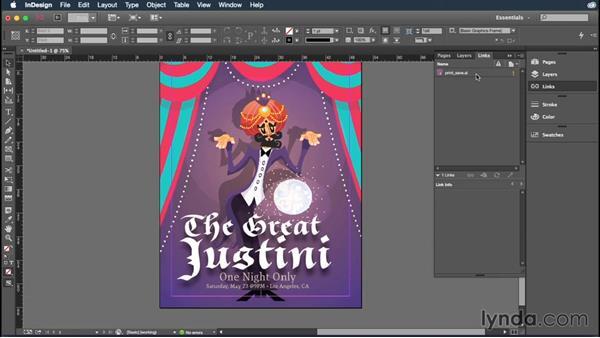 Placing linked Illustrator files into InDesign: Illustrator CC Essential Training (2015)