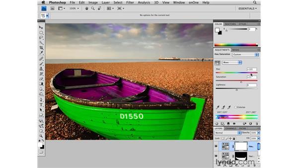 Hue/Saturation adjustments and masking: Photoshop CS4 for Photographers