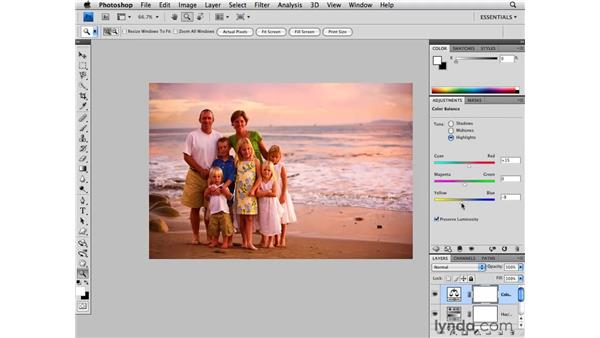 Enhancing a portrait with sunset colors: Photoshop CS4 for Photographers