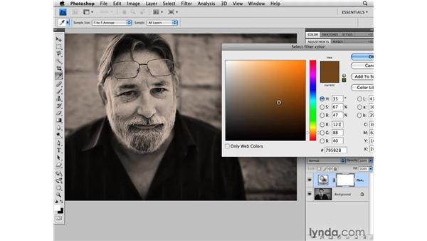 Using photo filters with black-and-white photos: Photoshop CS4 for Photographers
