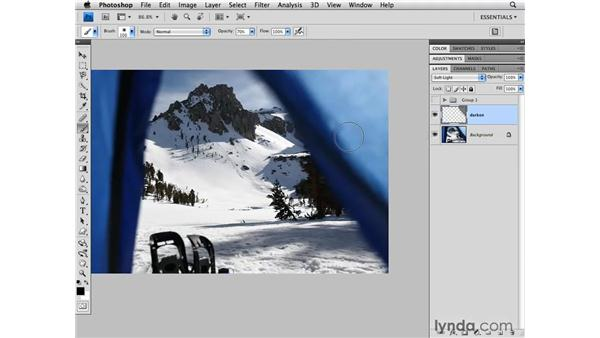 Darkening a portion of an image: Photoshop CS4 for Photographers