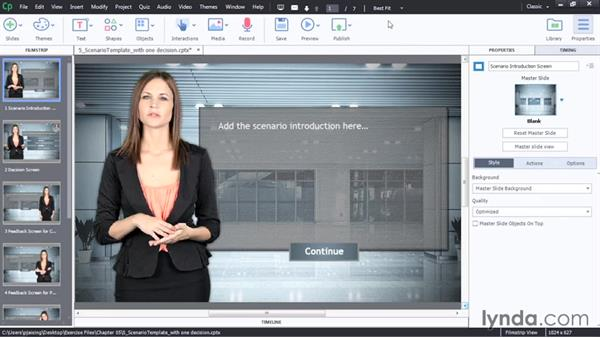 Scenario decision screen with one decision: Captivate 8 Advanced Techniques