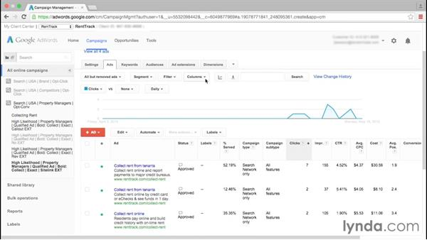 A look at reporting: Google AdWords Essential Training