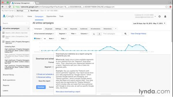 Creating and exporting reports: Google AdWords Essential Training