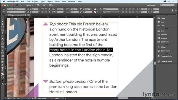 Typing and editing text: InDesign CC Essential Training (2015)
