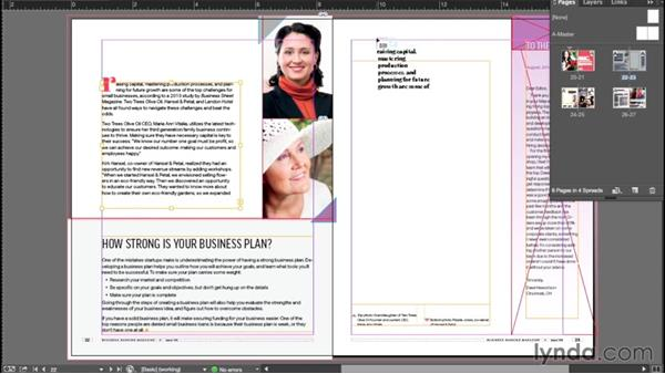 Threading text frames: InDesign CC Essential Training (2015)