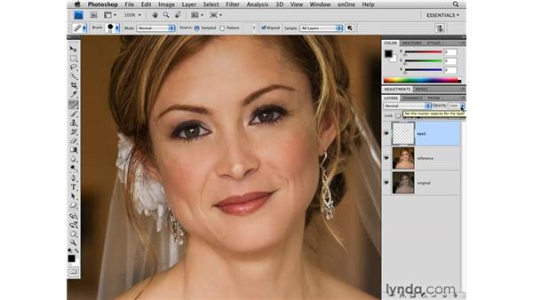 Reducing eye wrinkles : Photoshop CS4 for Photographers