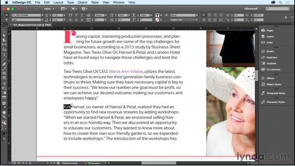 Copying formatting with the Eyedropper tool: InDesign CC Essential Training (2015)