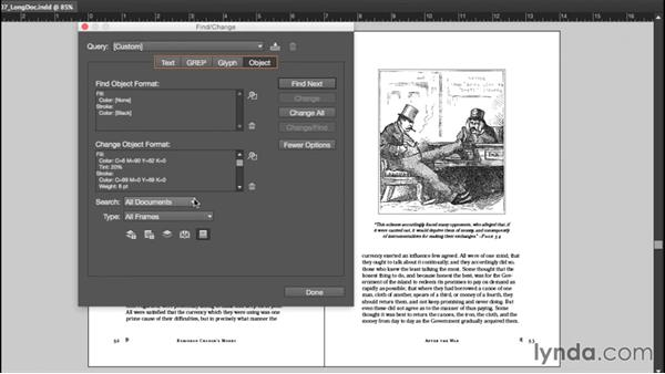 Finding and changing object formatting: InDesign CC Essential Training (2015)