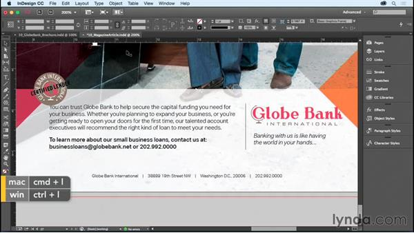 Grouping and locking objects: InDesign CC Essential Training (2015)