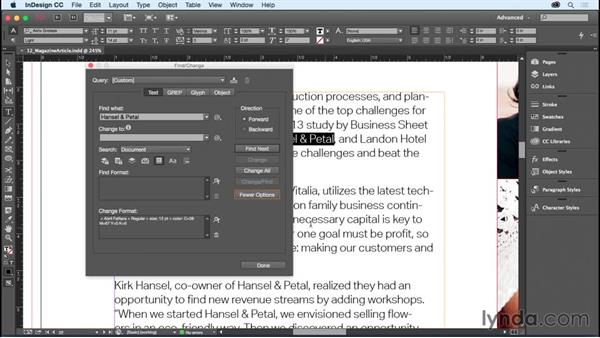 Using Find/Change for text formatting: InDesign CC Essential Training (2015)