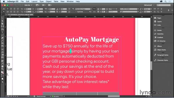 Applying formatting to a paragraph: InDesign CC Essential Training (2015)
