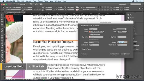 Adding rules (lines) above or below a paragraph: InDesign CC Essential Training (2015)