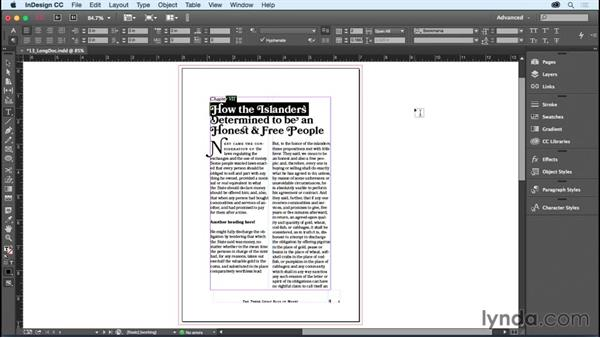 Spanning a paragraph across multiple columns: InDesign CC Essential Training (2015)