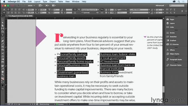 Splitting a paragraph into multiple columns: InDesign CC Essential Training (2015)