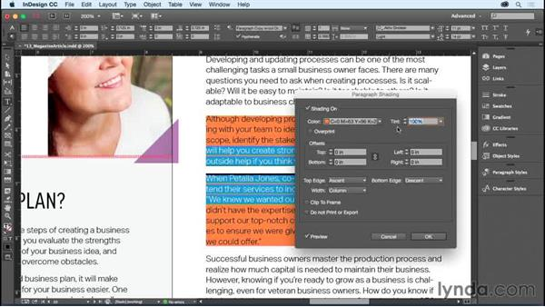 Shading paragraphs and boxes: InDesign CC Essential Training (2015)