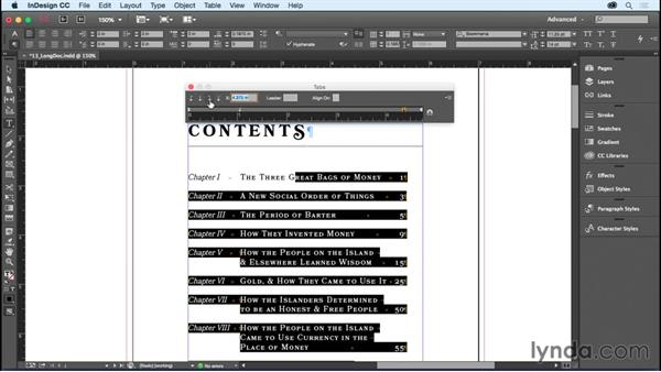Setting tabs: InDesign CC Essential Training (2015)