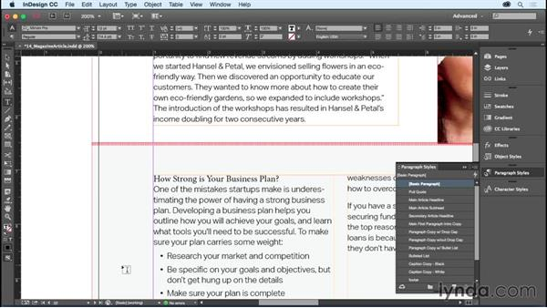 Creating and applying paragraph styles: InDesign CC Essential Training (2015)