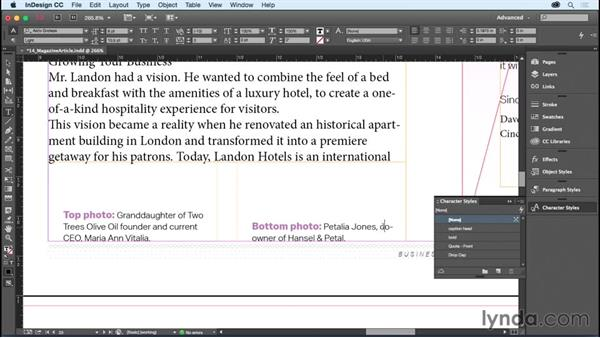 Using character styles: InDesign CC Essential Training (2015)