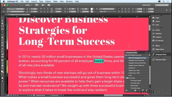 Editing and redefining styles: InDesign CC Essential Training (2015)