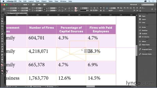 Placing graphics in cells: InDesign CC Essential Training (2015)