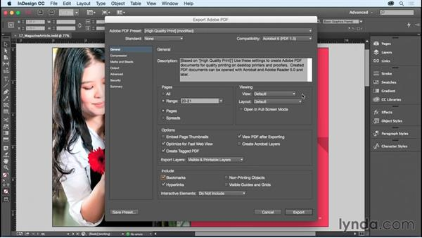 Exporting a PDF: InDesign CC Essential Training (2015)