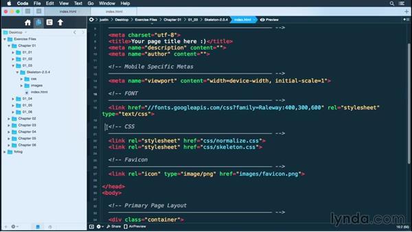 Setting up your HTML document: Building a Responsive Portfolio Site